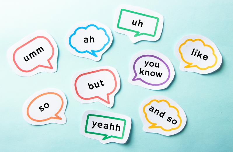filler words in speech bubble