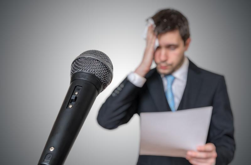 Man nervous about giving a speech