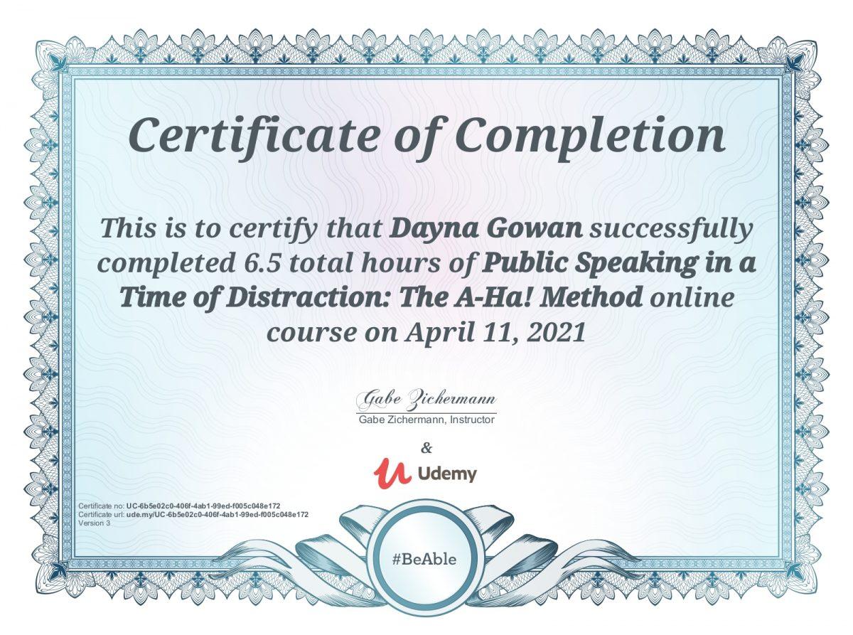 Udemy Course Certificate