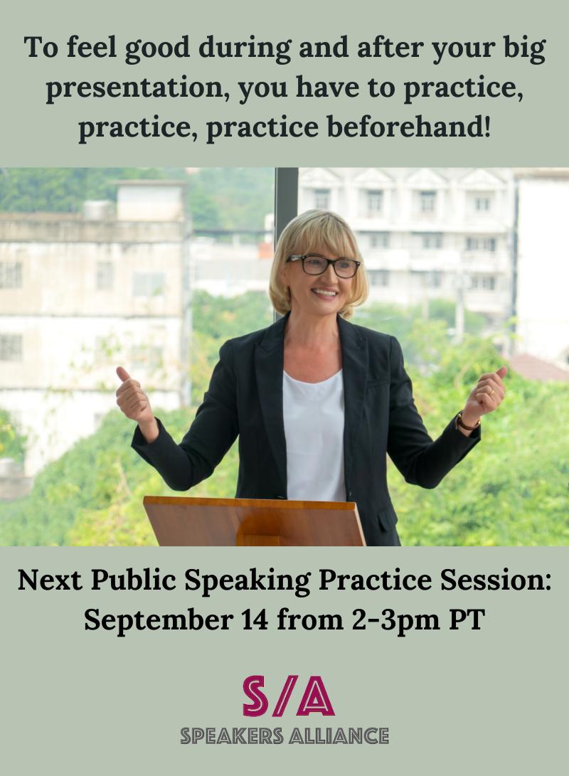 woman practicing public speaking
